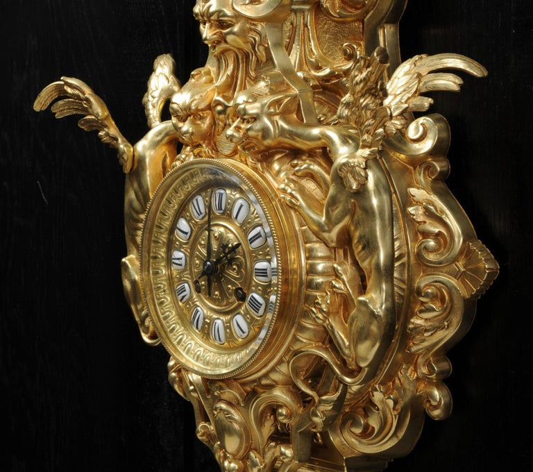 19th Century Hounds of the Devil, Antique French Gothic Gilt Bronze Cartel Wall Clock For Sale