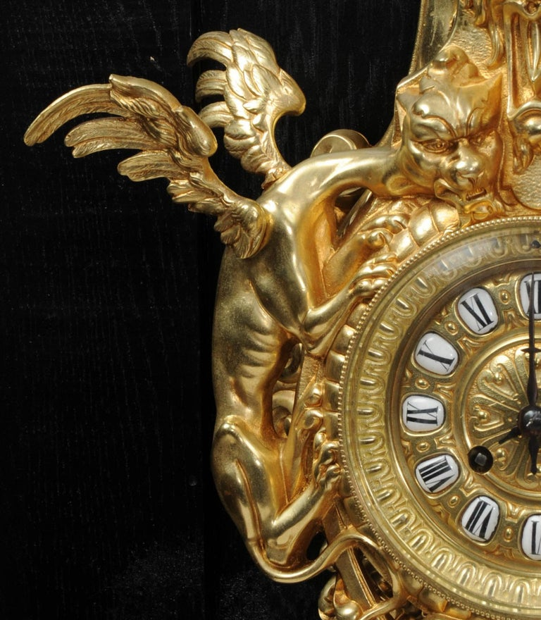 Hounds of the Devil, Antique French Gothic Gilt Bronze Cartel Wall Clock For Sale 2