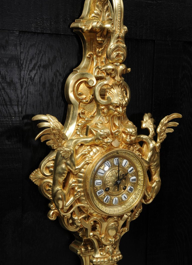 Hounds of the Devil, Antique French Gothic Gilt Bronze Cartel Wall Clock For Sale 4