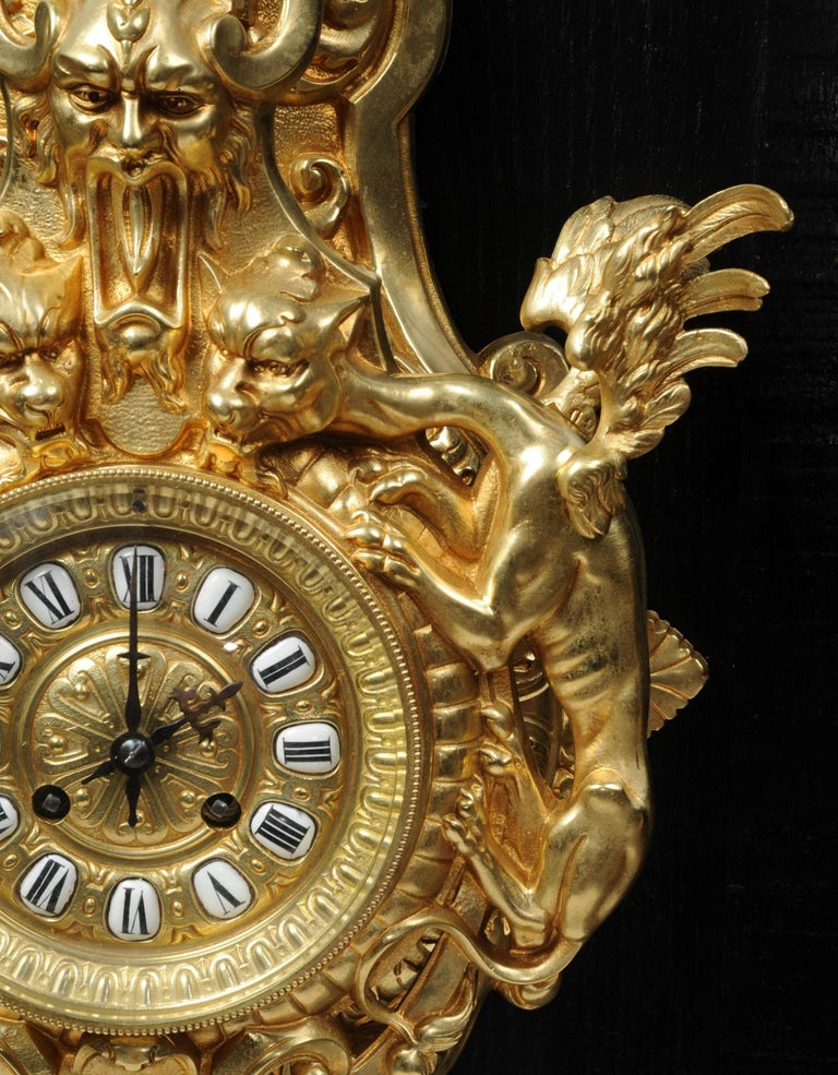 Hounds of the Devil, Antique French Gothic Gilt Bronze Cartel Wall Clock For Sale 5