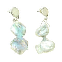 Gemjunky Hour Glass Shaped Pearl Dangle Earrings with Sterling Silver