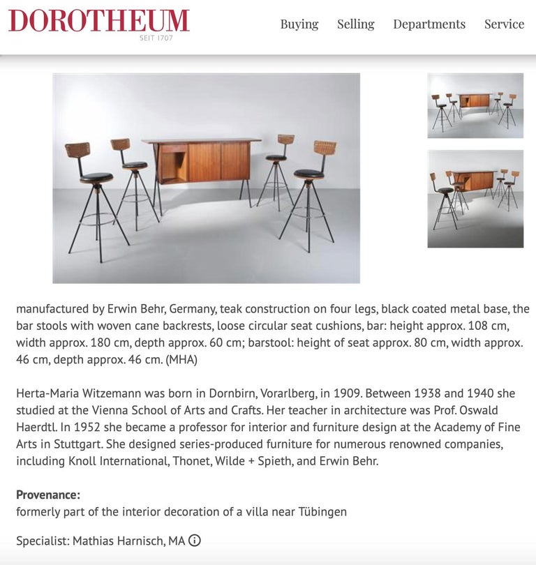 House Bar and Four Bar Stools by Prof. Herta-Maria Witzemann for Erwin Behr For Sale 10