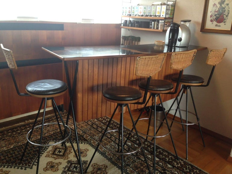 House Bar and Four Bar Stools by Prof. Herta-Maria Witzemann for Erwin Behr For Sale 13