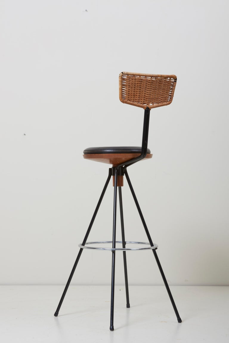 House Bar and Four Bar Stools by Prof. Herta-Maria Witzemann for Erwin Behr In Good Condition For Sale In Berlin, DE