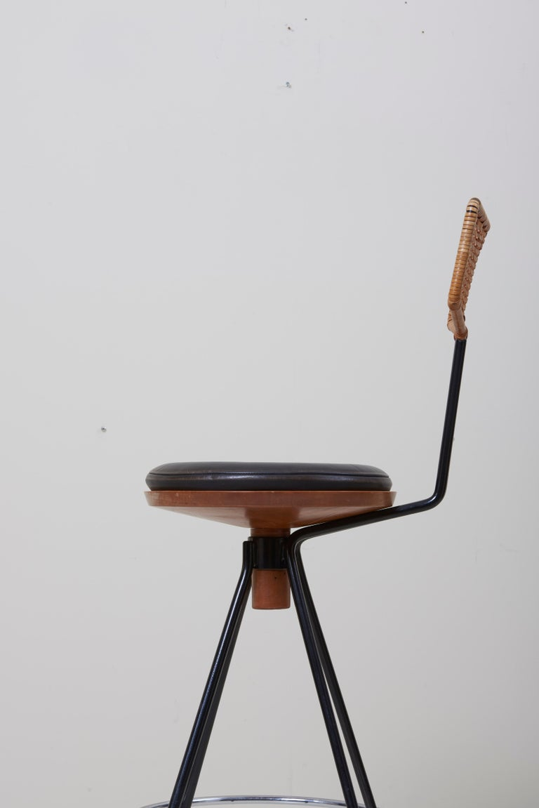 Teak House Bar and Four Bar Stools by Prof. Herta-Maria Witzemann for Erwin Behr For Sale
