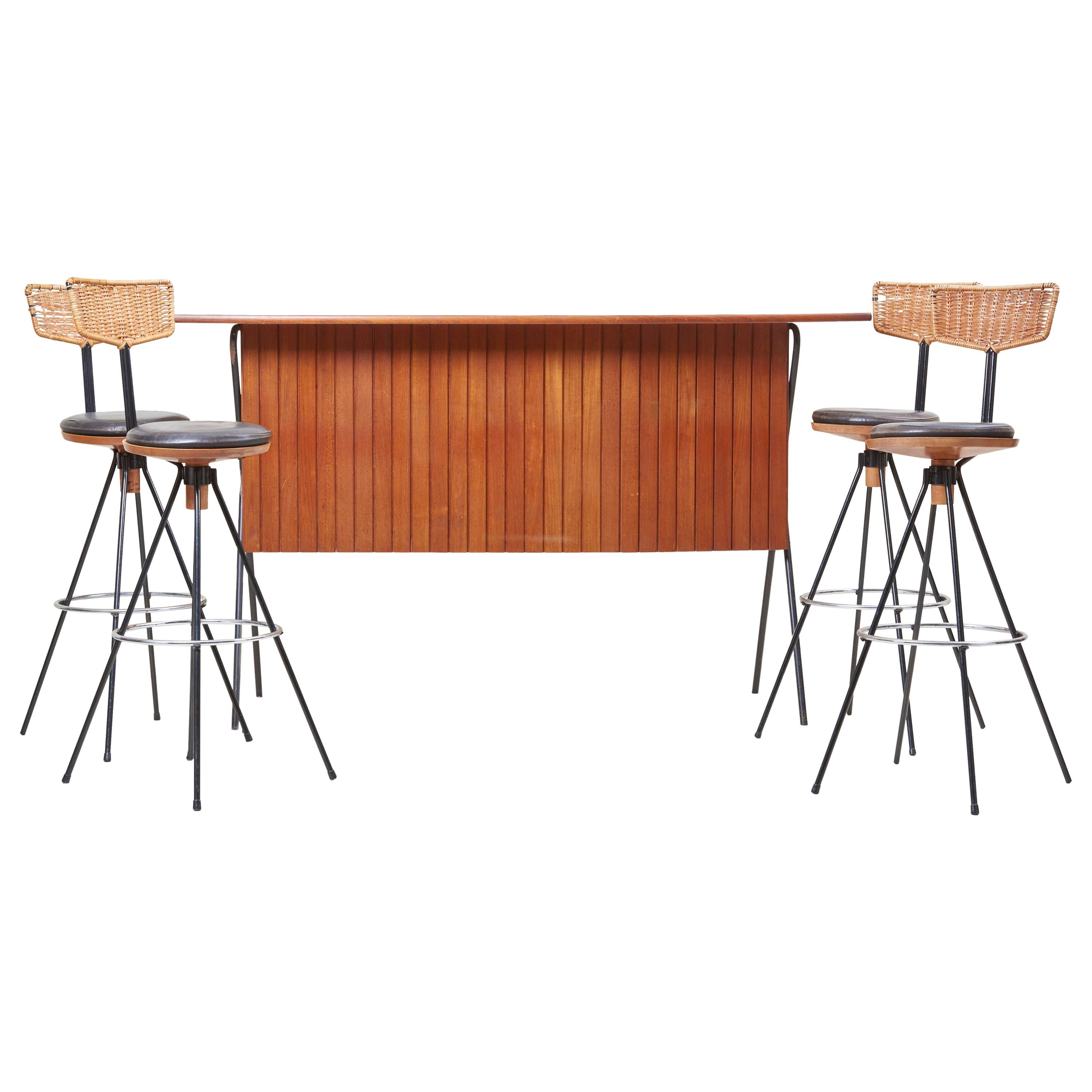 House Bar and Four Bar Stools by Prof. Herta-Maria Witzemann for Erwin Behr