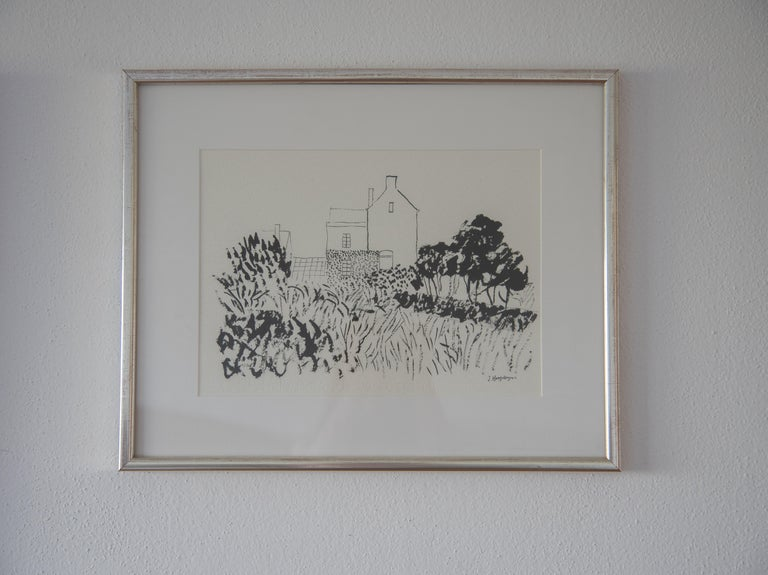 Hand-Painted House in Kent Landscape Unframed Drawing Ink 100% Cotton Paper Intimist Modern For Sale