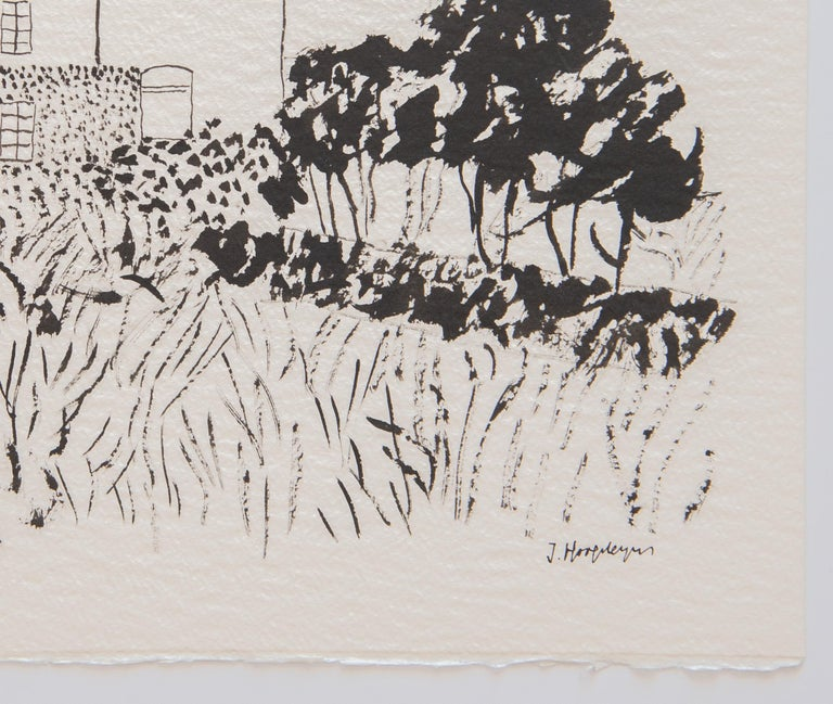 House in Kent Landscape Unframed Drawing Ink 100% Cotton Paper Intimist Modern In Excellent Condition For Sale In Queretaro, Queretaro