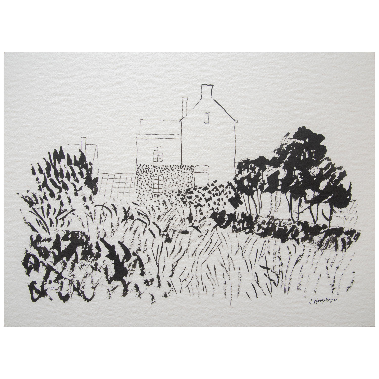 House in Kent Landscape Unframed Drawing Ink 100% Cotton Paper Intimist Modern