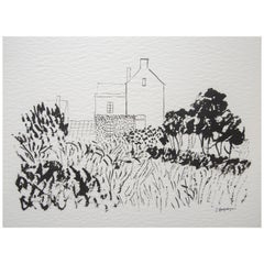 House in Kent Landscape Unframed Drawing Ink 100% Cotton Paper Intimist Modern