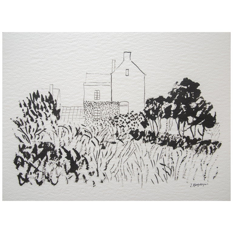 House in Kent Landscape Unframed Drawing Ink 100% Cotton Paper Intimist Modern For Sale
