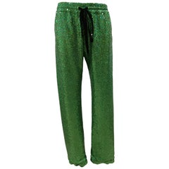House of Mua Mua Hand-Beaded Mesh Pajama green pants