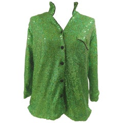 House of Mua Mua Hand-Beaded Mesh Pajama green shirt