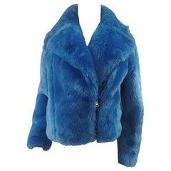House of Muamua blue faux fur jacket