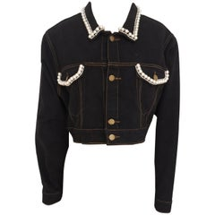 """House of Muamua dark blue sequins beads """"Don't follow me I an lost too"""" jacket"""