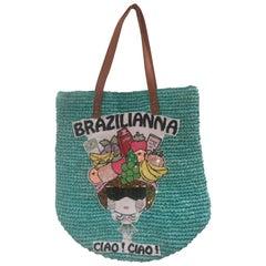 House of Muamua Green Brazilianna Sequins and Raffia shoulder bag