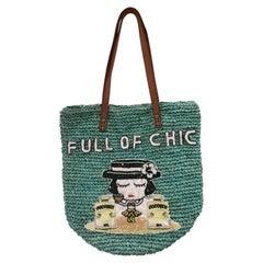 House of Muamua green Full of Chic coco sequins raffia shoulder bag