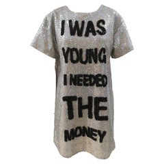 House of Muamua I was young I needed the money silver sequins dress