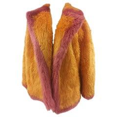 House of Muamua orange pink faux fur jacket NWOT