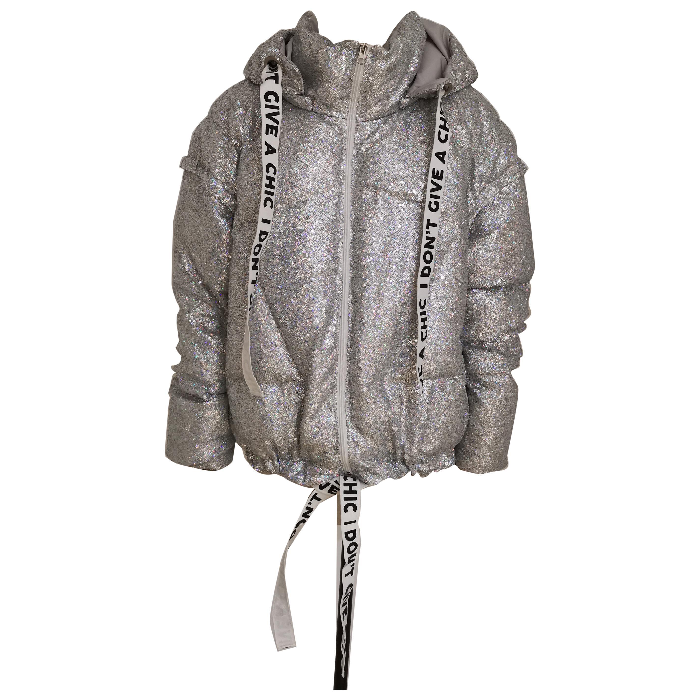 House of MuaMua silver sequins duvet bomber jacket