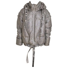 House of MuaMua silver sequins duvet bomber jacket