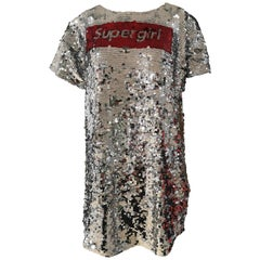 House of Muamua silver sequins supergirl dress