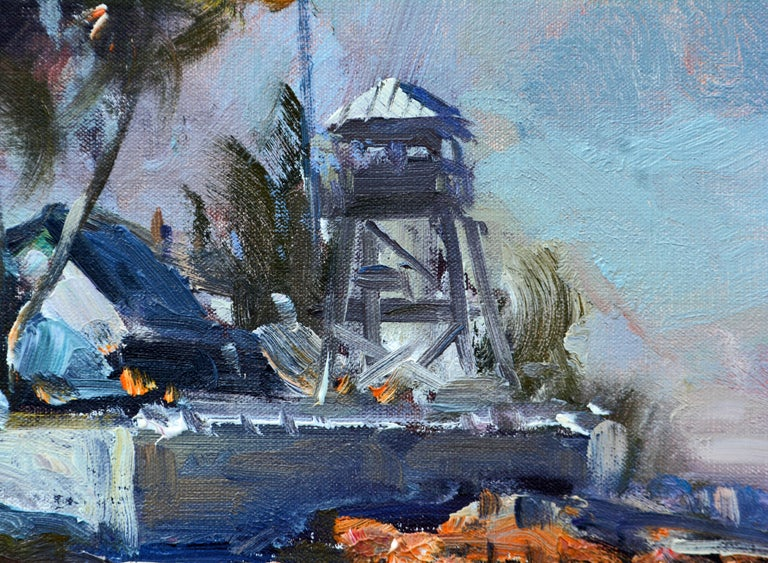 This bold impressionist style painting by renowned Gloucester artist Robert C. Gruppe depicts the 'House of Refuge' in Stuart Florida, a landmark and the only one still existing out of ten originally built along the coast in the 1870s to save
