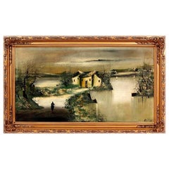 """""""Houses And River"""" Large Impressionist Oil on Canvas Signed A. Huntington"""