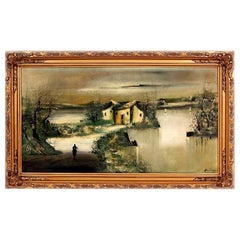 """Houses And River"" Large Impressionist Oil on Canvas Signed A. Huntington"