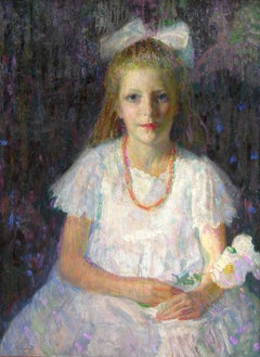 Marguerite, Young Gril with Flower Impressionist work