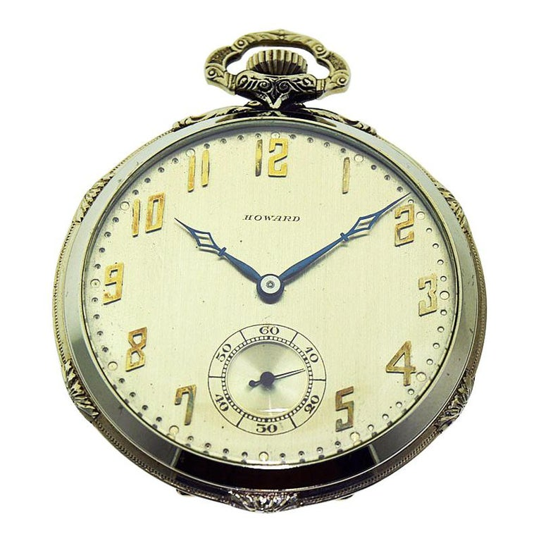 Howard 14 Karat Solid Gold Open Faced Pocket Watch from For Sale