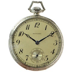 Howard 14 Karat Solid White Gold Opened Faced Pocket Watch, circa 1920s