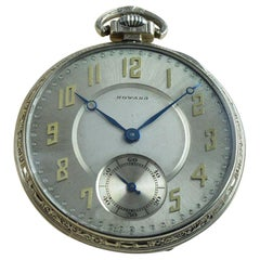 Howard 14 Karat Whilte Gold Filled Art Deco Pocket Watch from 1923