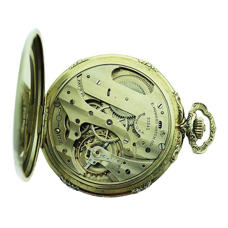 Howard 14 Karat Solid Gold Open Faced Pocket Watch from For Sale 6