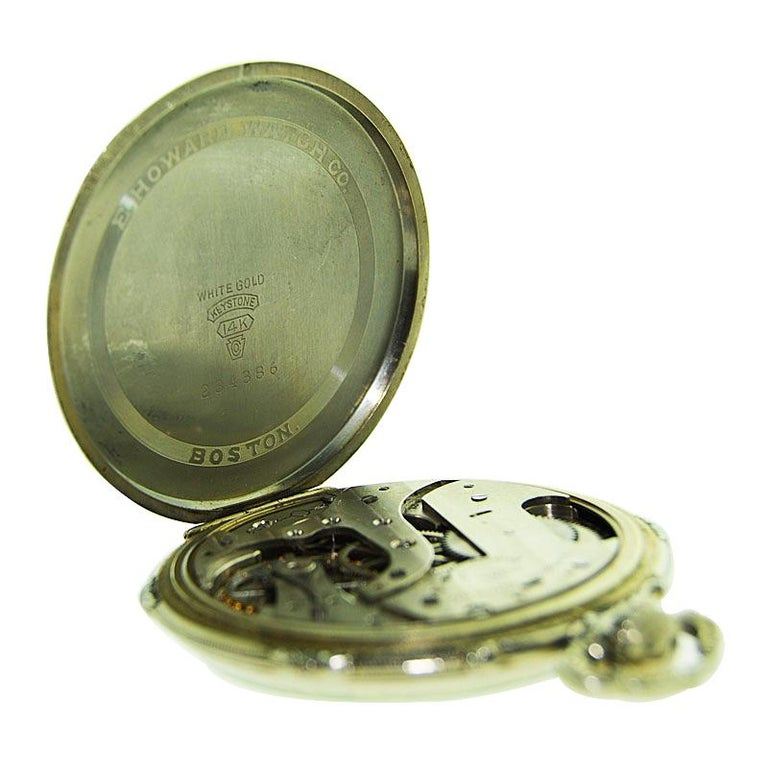 Howard 14 Karat Solid Gold Open Faced Pocket Watch from For Sale 7
