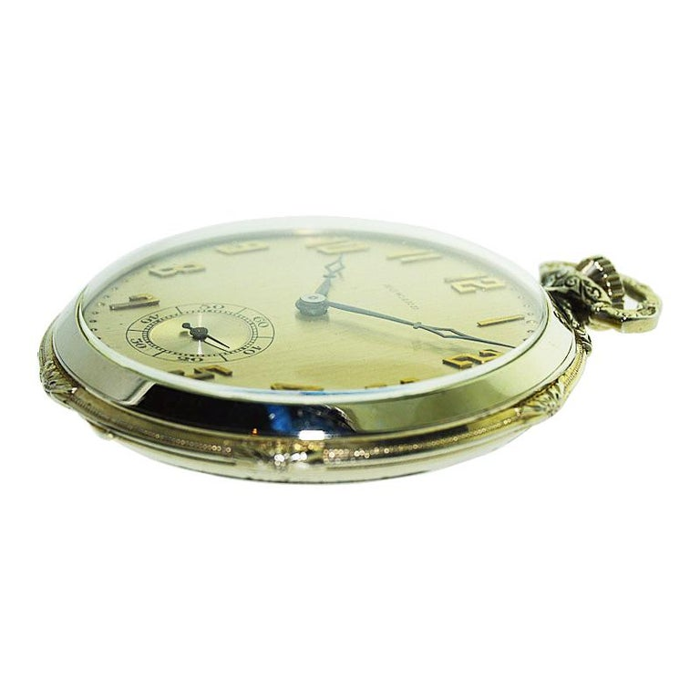 Howard 14 Karat Solid Gold Open Faced Pocket Watch from In Excellent Condition For Sale In Venice, CA