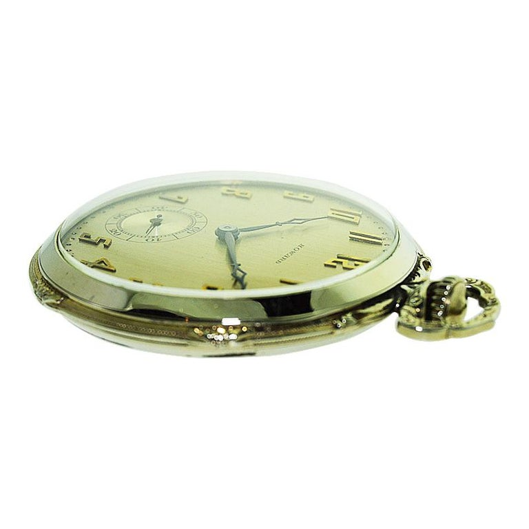 Women's or Men's Howard 14 Karat Solid Gold Open Faced Pocket Watch from For Sale