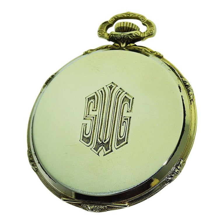 Howard 14 Karat Solid Gold Open Faced Pocket Watch from For Sale 1