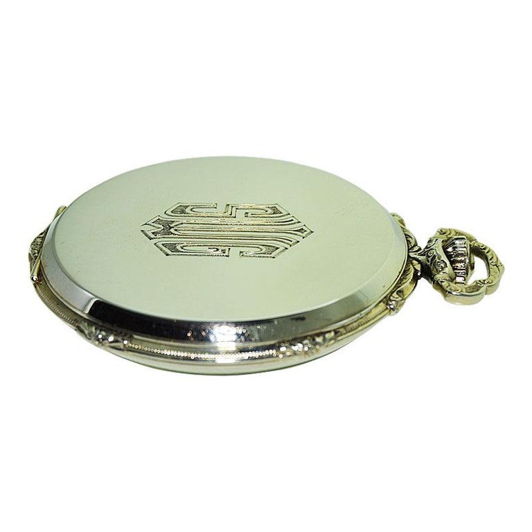 Howard 14 Karat Solid Gold Open Faced Pocket Watch from For Sale 3