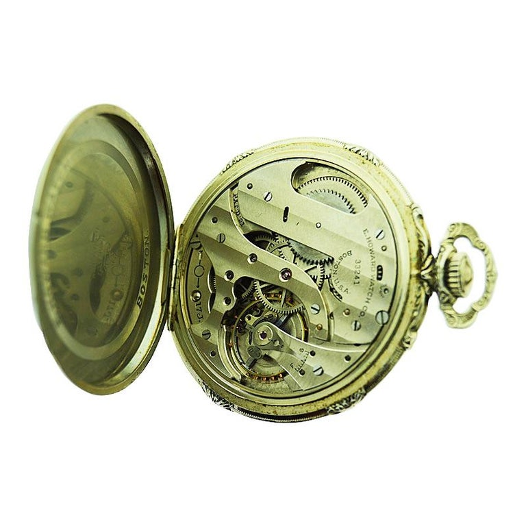 Howard 14 Karat Solid Gold Open Faced Pocket Watch from For Sale 5