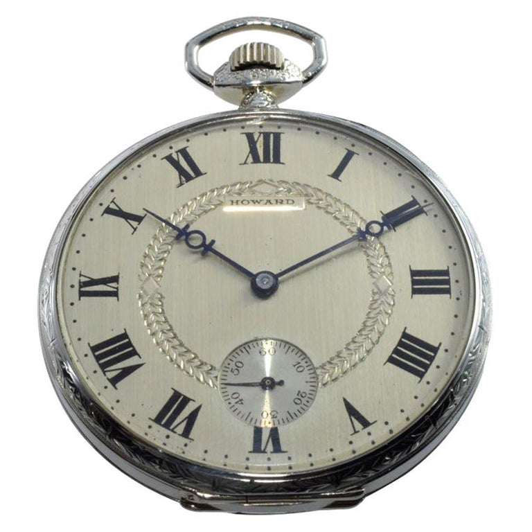 Howard 14Kt Whilte Gold Filled Art Deco Pocket Watch with Geneva Seal Standards For Sale