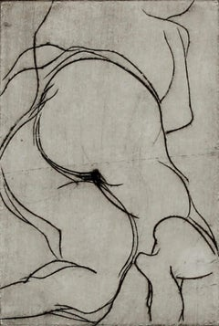 Abstracted Female Nude, Framed Etching on Paper, 1960s-1970s