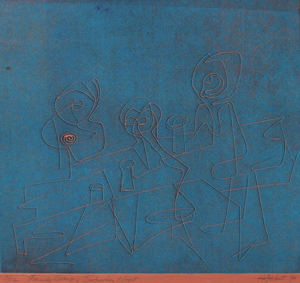 """Family Group; Saturday Night"" 1970 Serigraph"