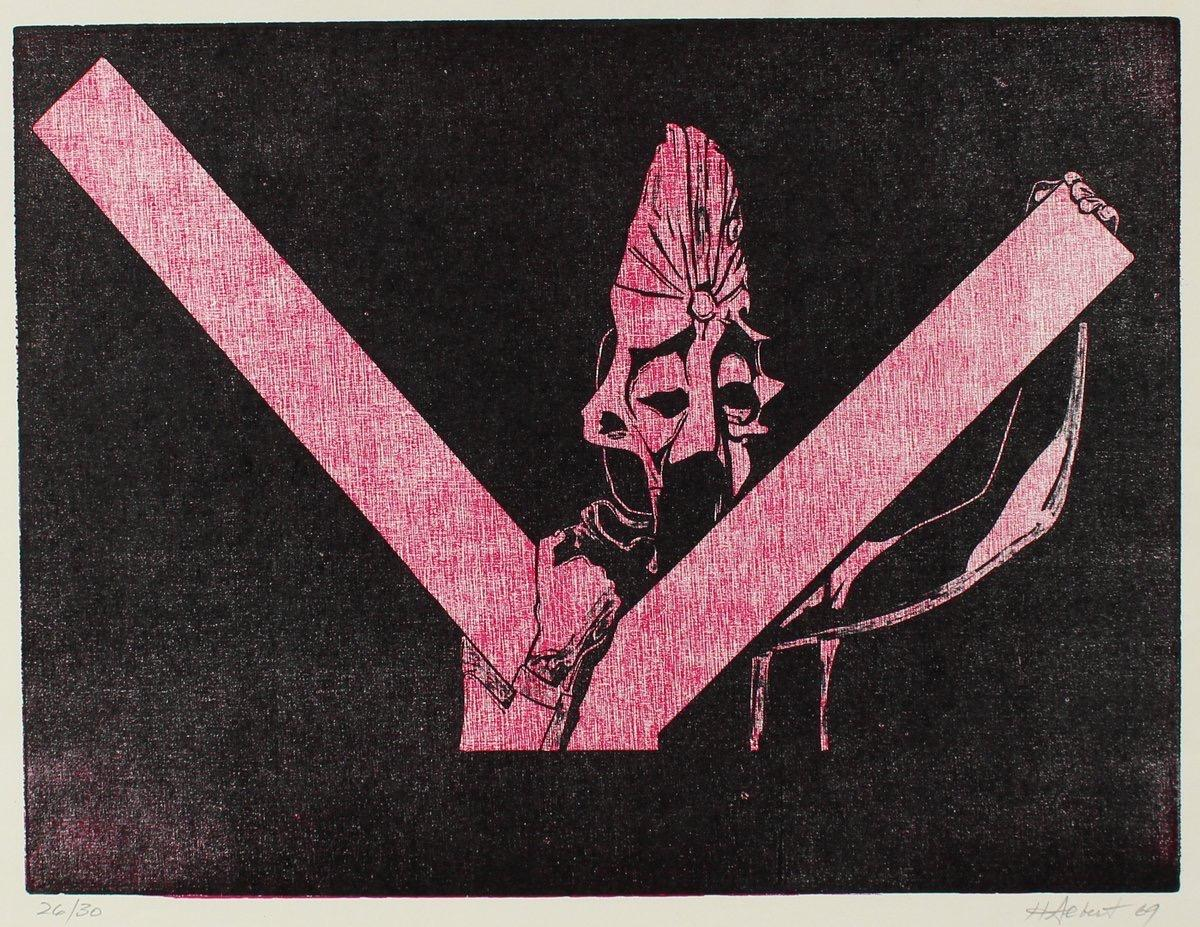 Figurative Woodcut in Pink & Black 1969