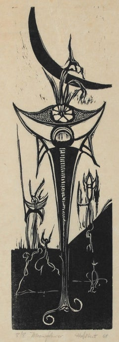 """Moonflowers"" 1968 Woodcut"