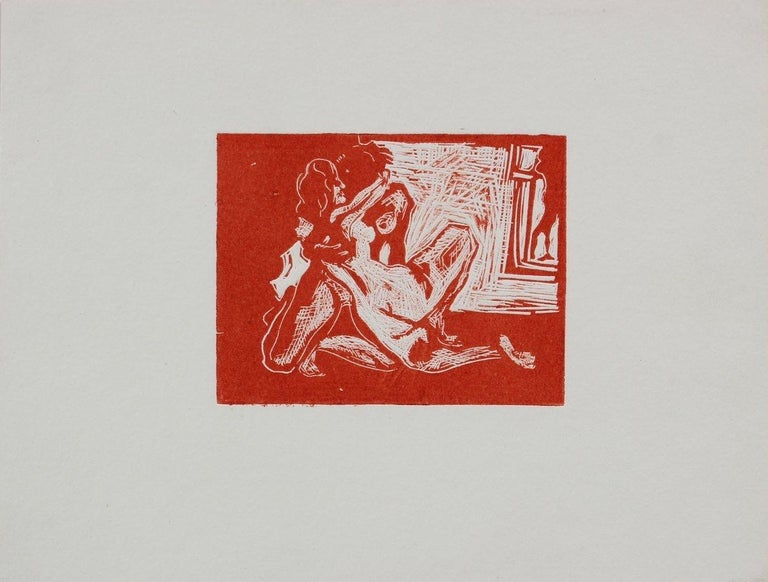 Nudes in Embrace Woodcut in Red 1960-70s - Print by Howard Albert