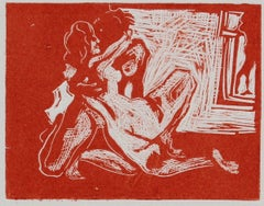 Nudes in Embrace Woodcut in Red 1960-70s
