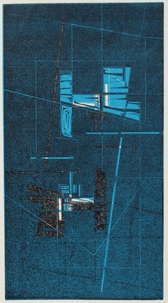 Shades of Blue Geometric Woodcut Abstract 1965