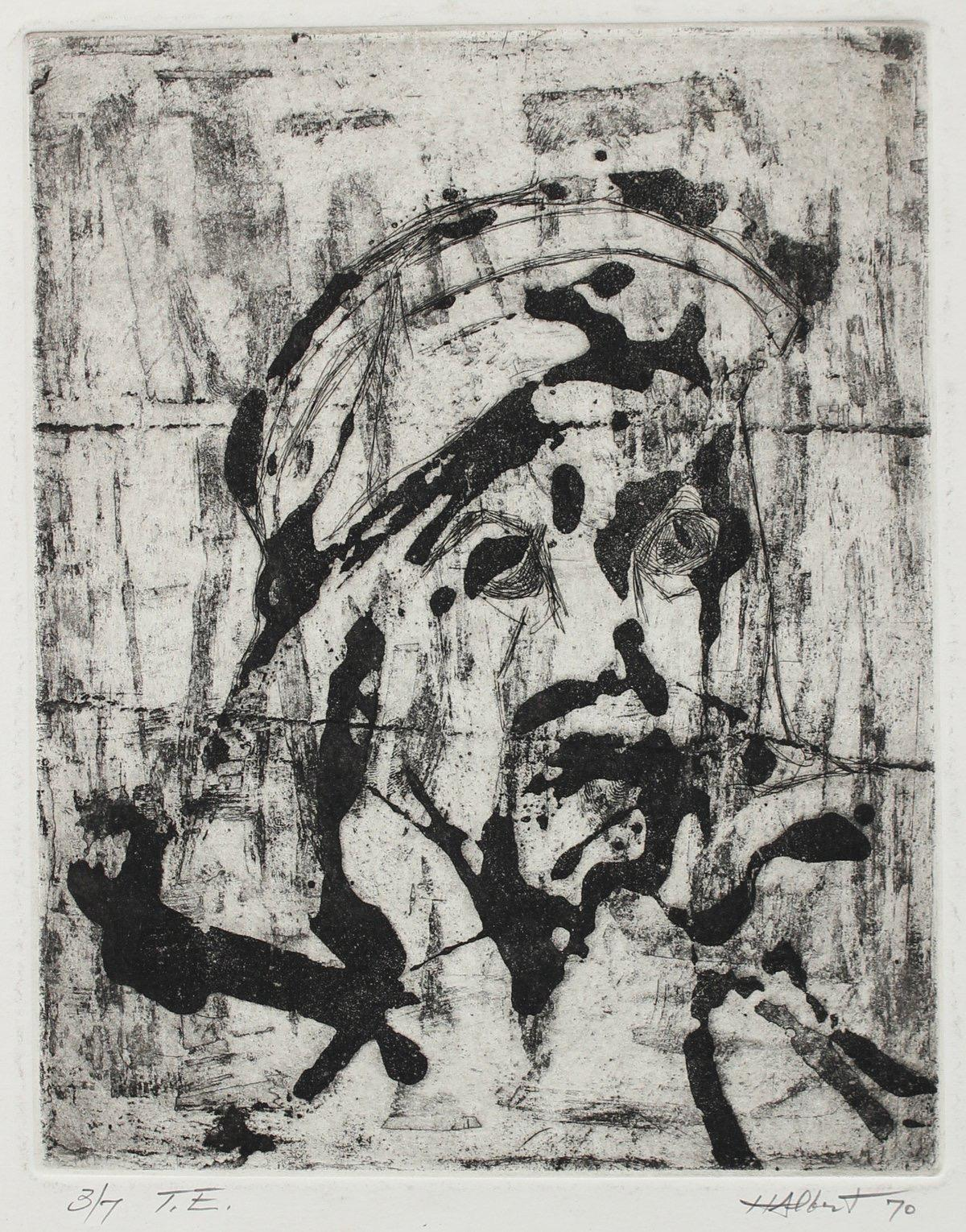 """""""T.E."""", 3/7 Abstracted Monochromatic Portrait 1970 Woodcut"""