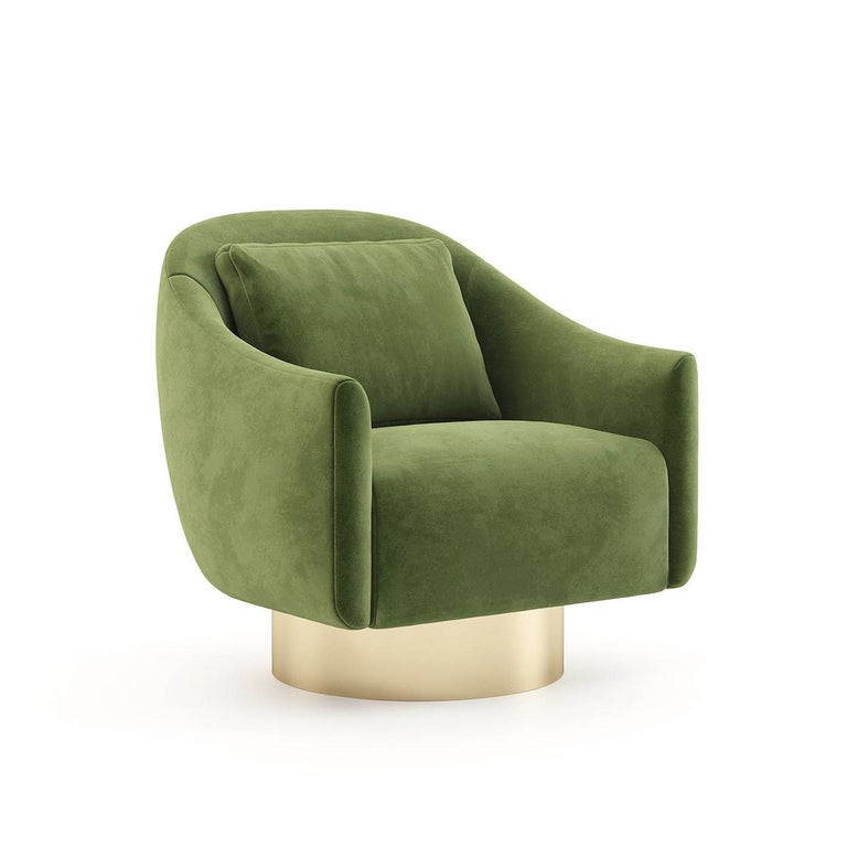 Portuguese Howard Armchair with Green Velvet Fabric For Sale